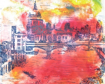 Abstract art / Linocut on paper - Title : City of London - The Southbank (modern architecture)