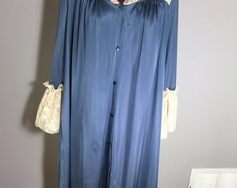 Vintage dark blue silk nightie with lace shoulders and cuffs nightgown