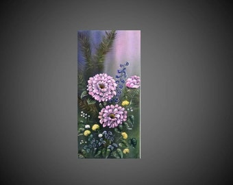 Original oil painting on canvas, pink flowers, garden, colorful, Home Deco, size 40 * 20