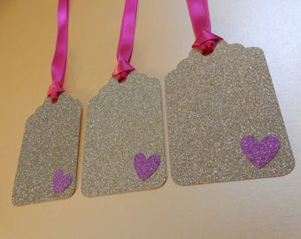 10 x Gold Glitter Tags - Handcrafted. Wedding, Engagement, Birthday