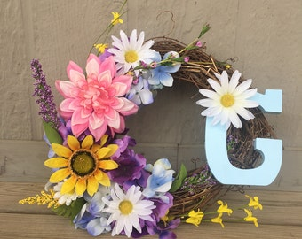 12' spring wreath with letter