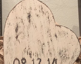 Anniversary Date Wood Hearts