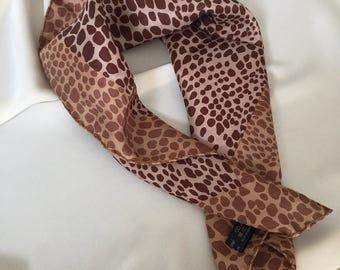 Leopard print silk scarf – Guy St. Honore silk scarf - Classy style silk scarf - An elegant style silk scarf -Small silk scarf