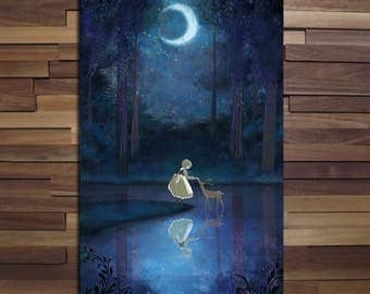 Little Girl and the Young Deer / Anime Scenery Poster - Canvas