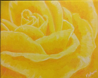 Yellow rose  acrylics on canvas 8x10