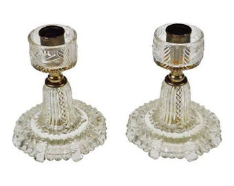 Pair of Vintage Glass Candlestick Holders, Candle Holders