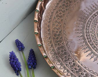 Gorgeous Vintage Persian/ Round Polished Copper Tray