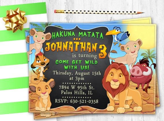 Lion King Birthday invitation African birthday card invite
