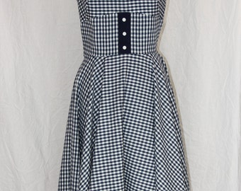 Retro Rockabilly Navy Checkered Dress