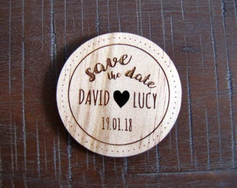 WOODEN MAGNET Save The Date, personalised wooden save the date fridge magnets for your wedding