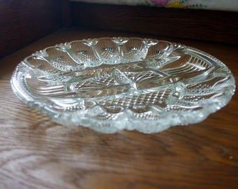 Vintage glass deviled egg, olive, pickles platter