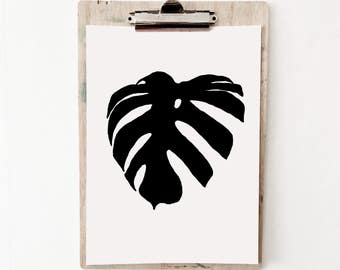 Black Monstera leaf print