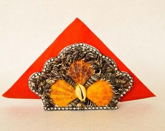 Handmade Sea shell Napkin holder Trio
