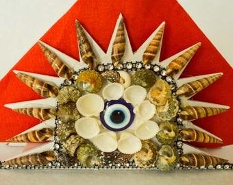 Handmade Sea Shell Napkin Holder. Star Design.