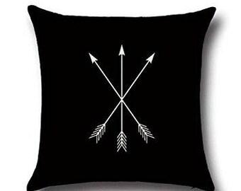 3 white Arrows Throw Pillow