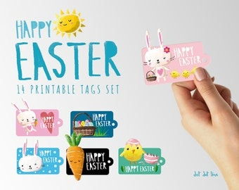 Easter clip art 14 printable Tags INSTANT DOWNLOAD
