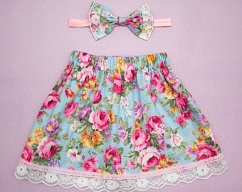 Vintage Pink Rose Girls floral Summer Skirt with elasticated waist and Hair Bow Set