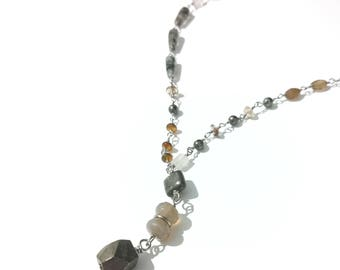 Pirite and nautral tones crystal necklace