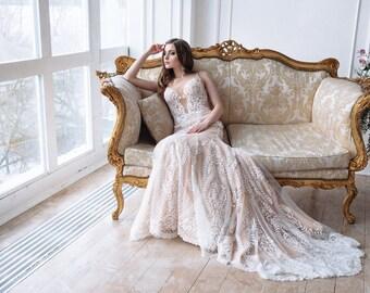 Lace Wedding Dress Panamera Bohemian DressBoho DressOpen Back Gown