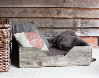 Dog or cat bed - reclaimed wooden personalised rustic bed made with scaffold board