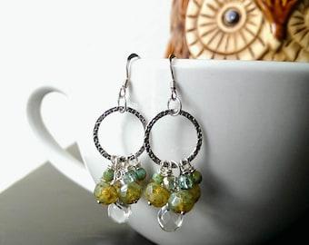 Gemstone cluster earrings/quartz cluster earrings/green cluster earrings/bead earrings/dangle earrings/gifts for her/teardrop earrings/925