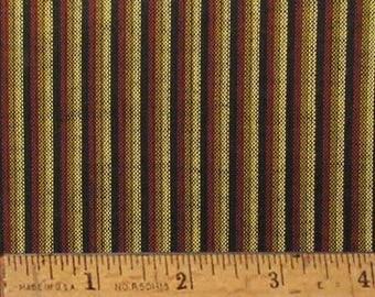 "Chocolate Brown Stripe Homespun Cotton Fabric (Full Yard 36"" x 44"")"