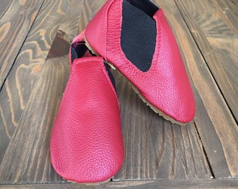 JR - Baby & Toddler Booties in Red Leather Handmade