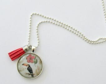 Ladies Statement pendant, tassel necklace - ball chain with Toucan cabochon