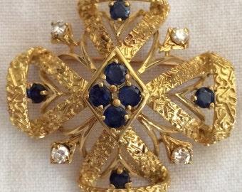 Vintage 18 Karat Gold Diamonds & Sapphires Brooch