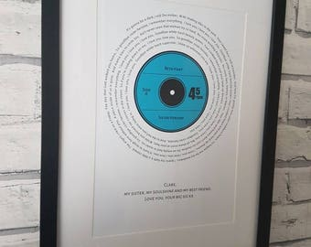 Framed song lyrics in the shape of a vinyl record. Made from your wedding song or any other song. Would make a perfect gift.
