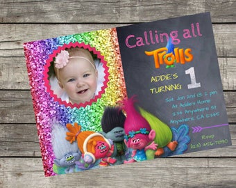 Personalized Dreamworks Trolls Birthday Invitation- Digital File Only- DIY 5x7