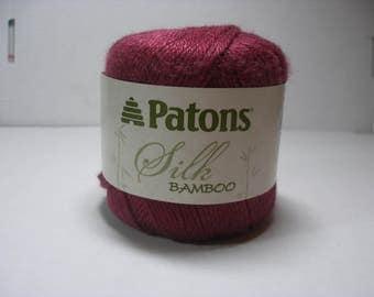 Patons Silk Bamboo Yarn in Plum 1 ball