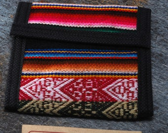 Manta Trifold Wallet Cotton/Velcro From Peru New Old Stock  - A