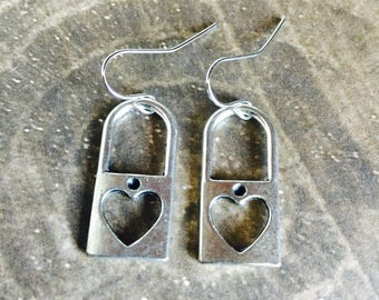 Heart Locket Earrings - Tibetan Silver - Dangle