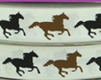 1 x Metre, BAY, BLACK, HORSES, 7/8, 22mm, Grosgrain, Ribbon, Sewing, Craft
