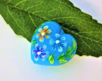 BLUE HEART with FLOWERS large focal bead --- measures 1 inch one flat rate shipping, no matter how many items on this order