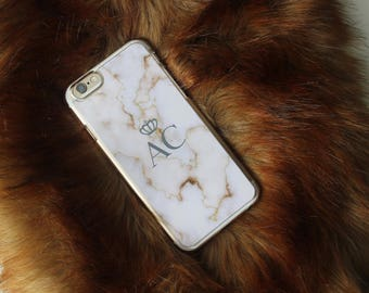 White Brown Personalized initial Marble Print Phone Case iPhone 5C 5 SE 6 6S 6 Plus 7 7 Plus