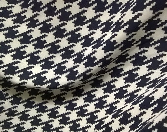 Cream and Navy Blue Houndstooth Design Crepe-Mix Fabric