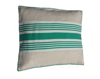 Cushion cover made of hessian and antique fabrics