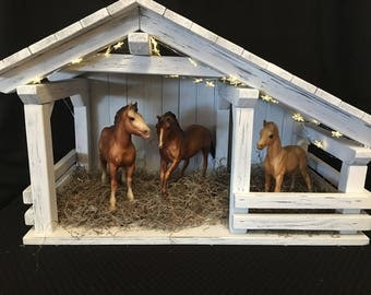Nativity stable single stall, barn, farm decor, displays, kids miniature stables, christmas , horses, home decor, gift ideas, toy barns