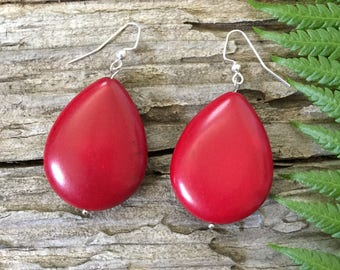 Gift // Statement Earrings // Red Howlite Earrings Handmade