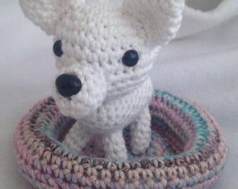 Chihuahua Dog Amigurumi, kawaii puppy with bed