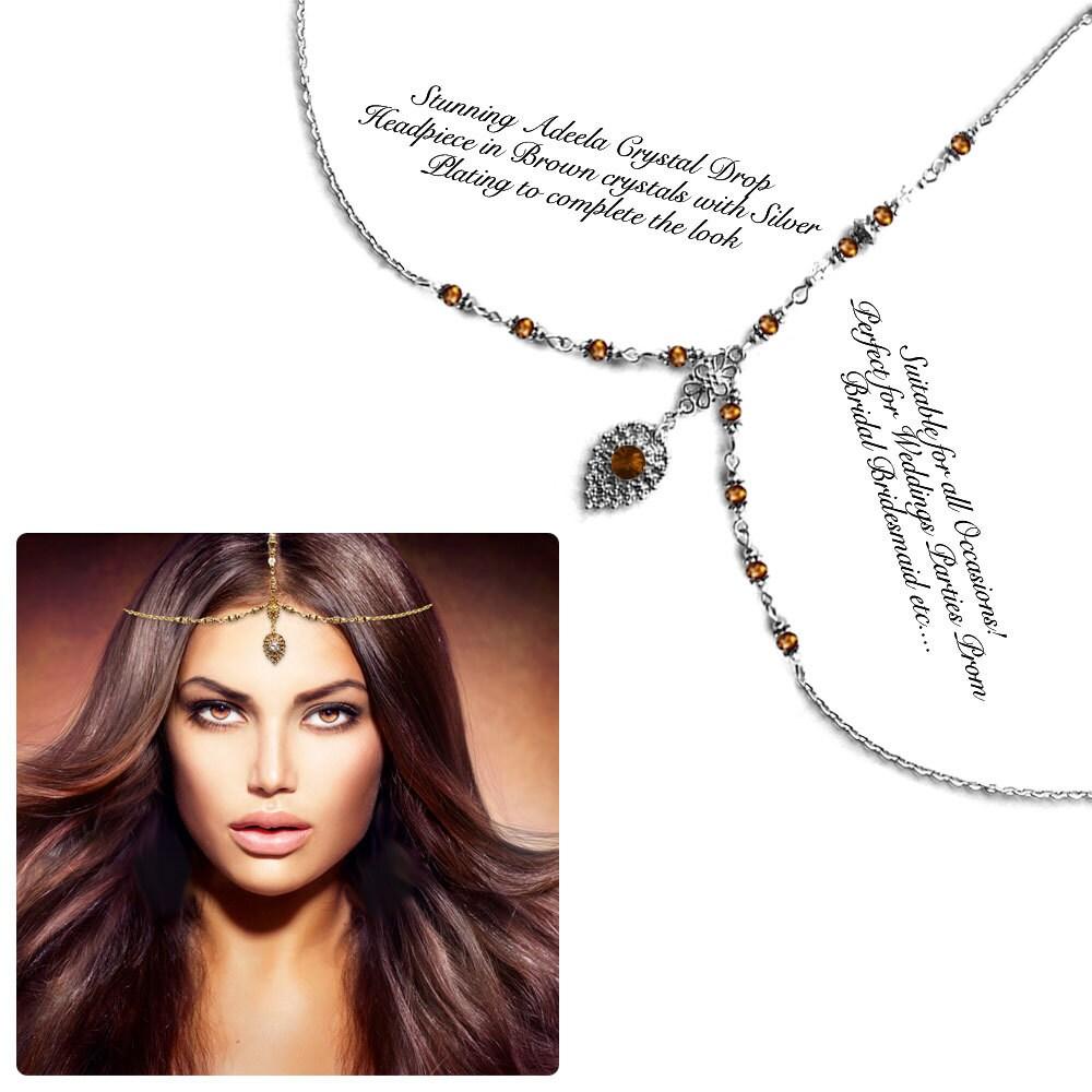 Gold silver brown crystal Kundan Indian Jewelry Matha Patti Tikka ...