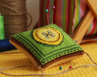 """Handmade finished completed cross stitch embroidered needle pillow """"Yellow button"""" Gift for dressmaker/Mothers Day gift/Inspirational gift"""