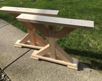 Trestle Dining Table Legs Set of 2 Rustic Farmhouse X