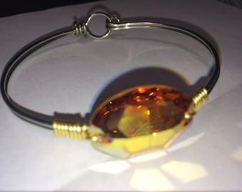 Handmade Sparkling Metallic Yellow Crystal Bracelet Swarovski Silver Bangle