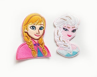 2x Anna + Elsa Frozen Patches cartoon cute kids fun Iron On Embroidered Applique love Disney custom your jacket hat bag dress shoes...