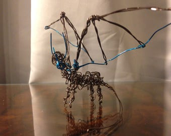 Black and Sapphire Blue Wire Dragon