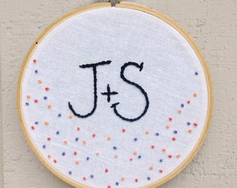 Confetti & initials embroidery. Beautiful handmade embroidery customized with initials.