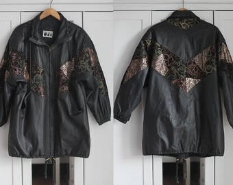 Vintage Leather Jacket Coat Black Beige Genuine Grunge Retro 1980s Hipster Look Shiny Pattern Floral Flowers Maxi Length / Extra Large size
